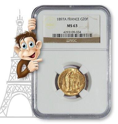 1897A Gold 20 Franc NGC MS63 --