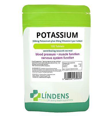 Potassium 200mg Tablets 100 pack Lindens Health Supplement