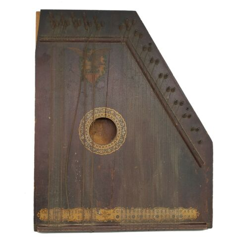 Antique Zither Harp With American Eagle Emblem