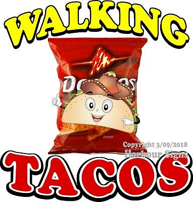 Walking Tacos Decal Choose Your Size Food Truck Concession Vinyl Sticker