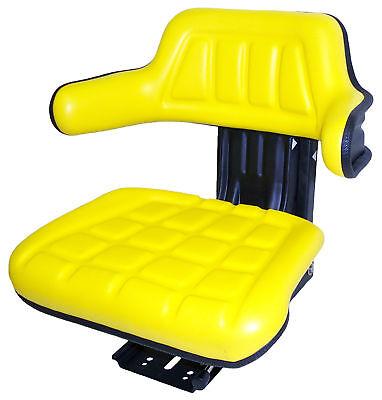 Yellow Vinyl Suspension Seat For Mini Excavators Rt Forklifts Compact Tractors