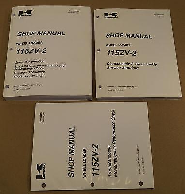 Kawasaki 115zv-2 Wheel Loader Factory Service Shop Manual 3-volume Set 35021