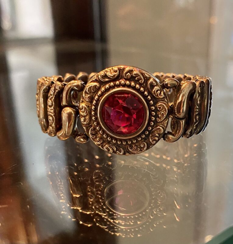 Antique American Queen Pittman Keeler Garnet Glass Gold Filled Bracelet c1907