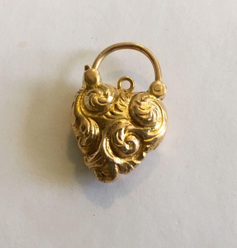 Antique 14k Victorian Heart Shaped Lock/Charm/Drop