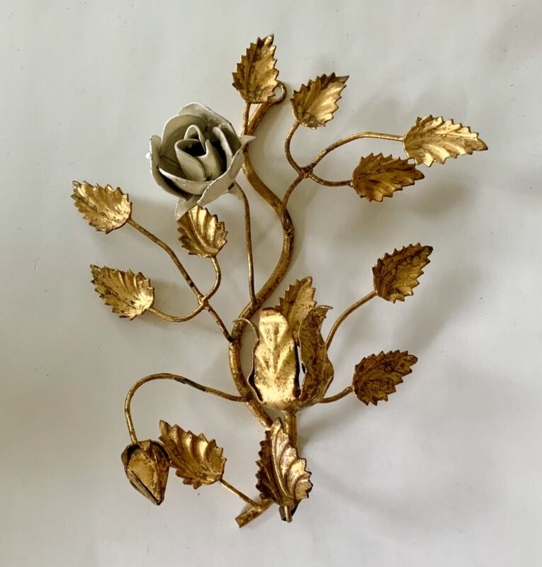 Antique Vintage Italian Tole Metal Rose Wall Sconce