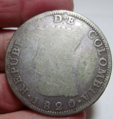 1820 BA-JF (COLOMBIA) CUNDINAMARCA (8 REALES) SILVER -- very scarce year---