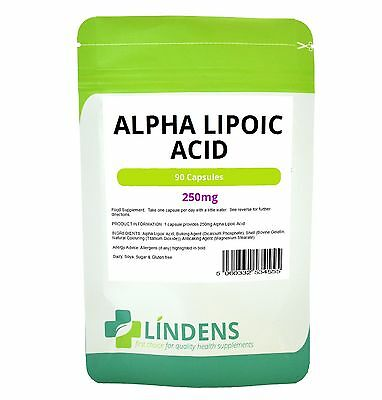 Alpha Lipoic Acid 250mg x 90 capsules High Quality Strong Antioxidant Eye Brain
