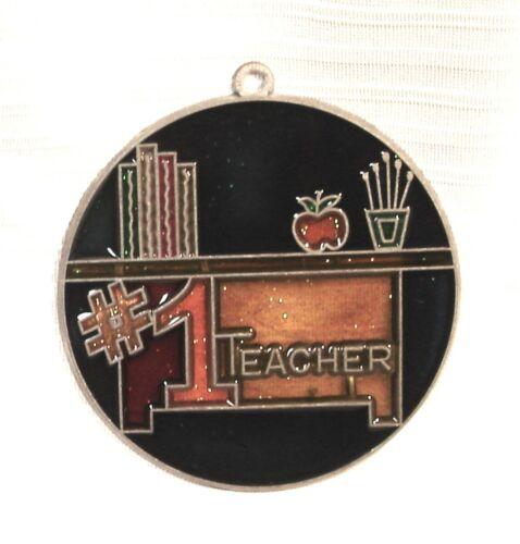 New #1 Teacher Appreciation Suncatcher Metal Resin (Old Stock) Free S&H