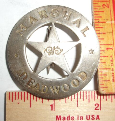 """""""Marshal Deadwood"""" badge vintage collectible old West Southwestern cowboy pin"""