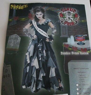 ZOMBIE PROM QUEEN Costume Large 12-14 Long Gown DRESS GLOVETTES TIARA SASH - Zombie Prom Queen