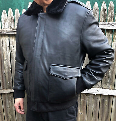MENS LIGHT SPRING LEATHER AIR FORCE A-2 BOMBER FLIGHT MILITARY JACKET BLACK A2