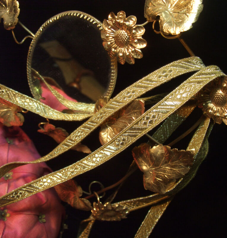 """Antique vtg Gold Metallic Trim Tape Ribbon Embroidery 3/8"""" wide for pillows BTY"""