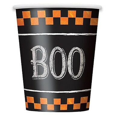 8 CHECKERED HALLOWEEN Party Supplies Disposable Paper CUPS 9 Oz (Checkered Paper)