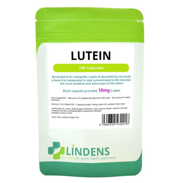 Lutein Capsules 100 x 10mg Lindens Marigold Extract Retina/Macular/Eye Health