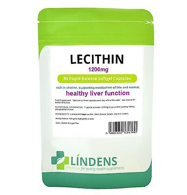 Lindens Soya Lecithin 1200mg 90 Capsules Rapid Release Softgels Soy