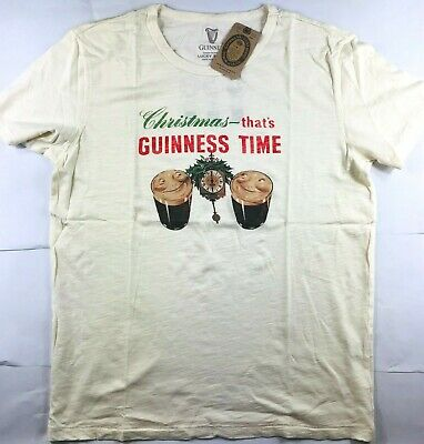 NWT NEW Men's Lucky Brand Christmas Guinness Time Cream T-Shirt Tee Choose Size