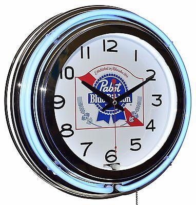 "Pabst Blue Ribbon 15"" Blue Double Neon Clock Man Cave Diner Pub Bar Decor for sale  Los Angeles"