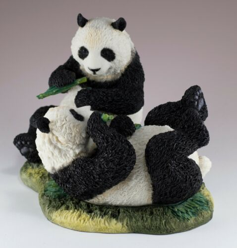 "Panda Cubs Eating Bamboo Figurine 7"" Long Highly Detailed Polystone New In Box!"