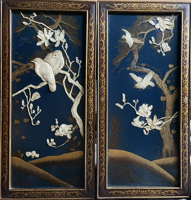 Pair Antique Japanese Shibayama Blue Lacquer And Carved Inlay Wood Panels