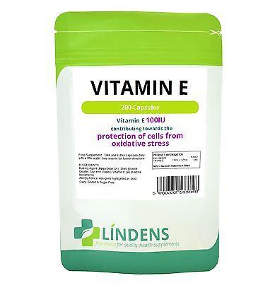 Lindens Vitamin E 100IU 200 Capsules DL Alpha Tocopherol Quality Supplement