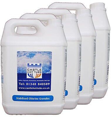 Chlorine Granules 5Kg for Hot Tubs Swimming Pools 4 x 5kg Grade A Castlehottubs