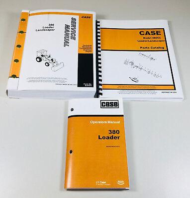 Case 380 380ll Loader Landscaper Tractor Backhoe Service Parts Operators Manual
