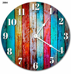 COLORED WOOD BOARDS RUSTIC CLOCK Large 10.5 inch Wall Clock PRINTED WOOD - 2004