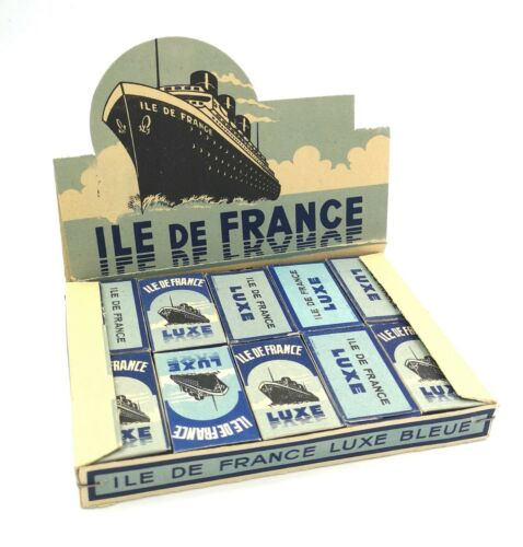 VERY RARE OLD 1943 UNOPENED FRENCH DECO LUXE BLEU RAZOR BLADES 20 BOXES DISPLAY