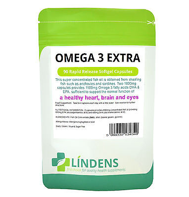 Omega 3 Fish Oil Extra (55% DHA/EPA) 1000mg 90 Capsules Super Concentrated