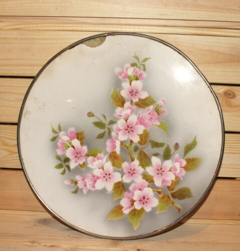 Antique Czech floral porcelain footed serving tray with metal facing