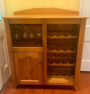 Baltic Pine Wooden Wine Rack and Cupboard