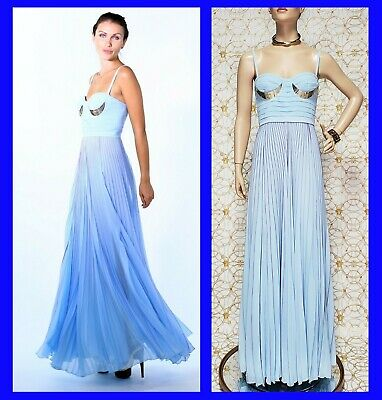 NEW VERSACE BLUE PLEATED GOWN DRESS 40 - 4
