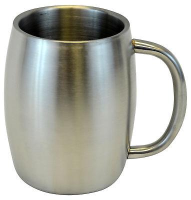 Stainless Double Wall Steel Beer Coffee Desk Beverage  Mug, Smooth 14 oz New Double Wall Beer Mug