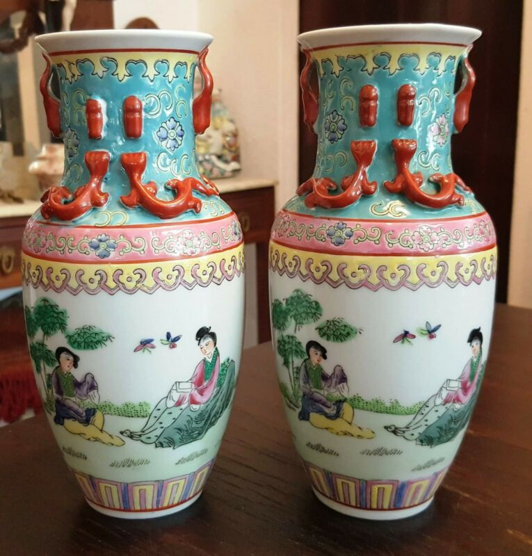 ANTIQUE CHINA CHINESE PAR OF VASES HAND PAINTED / MARKED