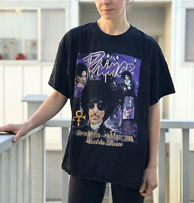 Prince Tribute Graphic Tee RIP Black Purple Shirt