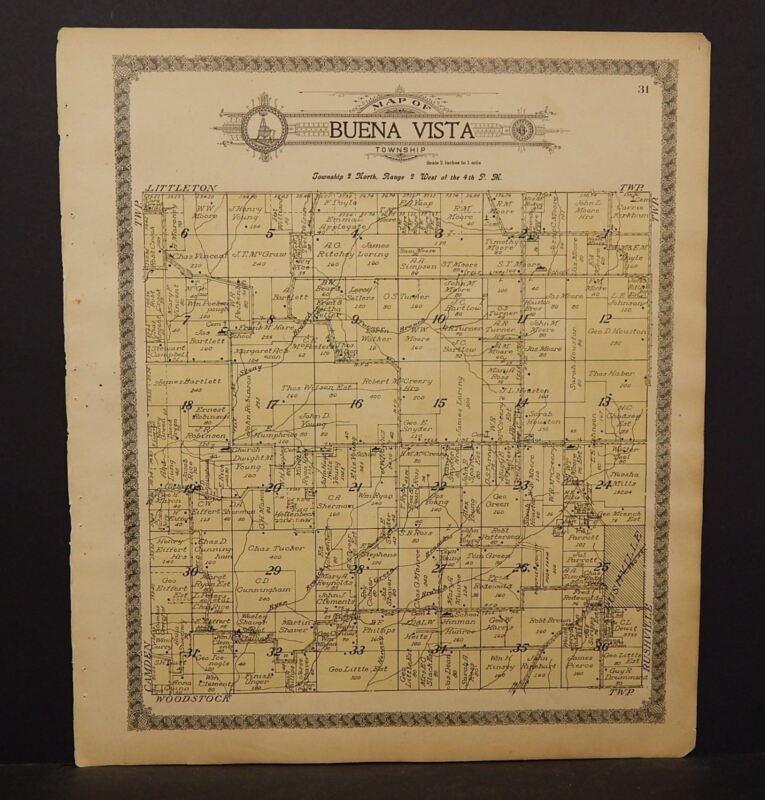 Illinois Schyler County Map Buena Vista Township c.1915  J16#70