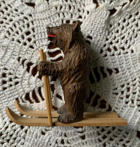 Antique Swiss Montreux Black Forest Carved Miniature BEAR on SKIS