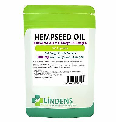 Hemp Seed Oil 1000mg Capsules (100 pack) Made in UK