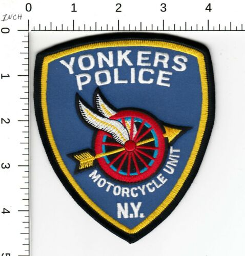 YONKERS NEW YORK POLICE > MOTORCYCLE UNIT < WINGED WHEEL SHOULDER PATCH NY