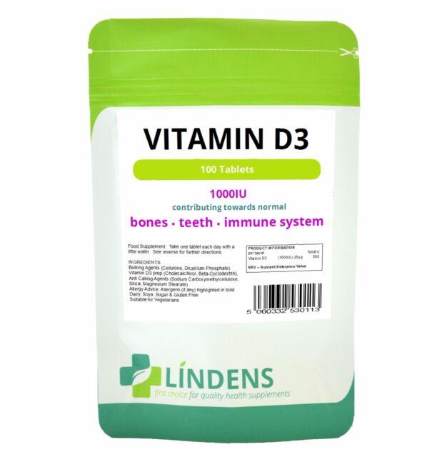 Vitamin D (D3) 1000 IU - 100 tablets;