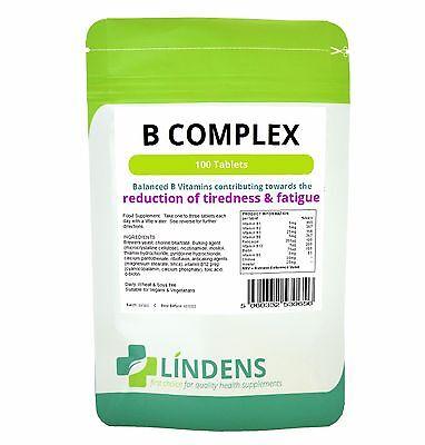 Lindens 100 Vitamin B-Komplex Tabletten B1, B2, B3, B5, B6, B9, B12, Folsäure ()