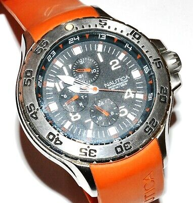 Nautica Men's N14547G Multi Function Day Date Orange Strap Sport Wrist Watch!