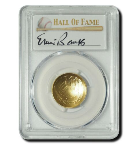 2014-W $5 Gold Baseball Coin - PCGS MS69 - Hand-Signed By Ernie Banks