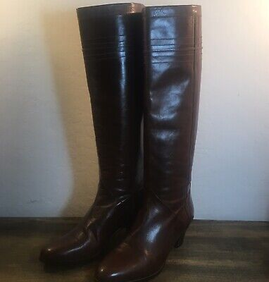 Gucci Vintage Brown Knee High Riding Boots Style Womens Size EU 34 1/2