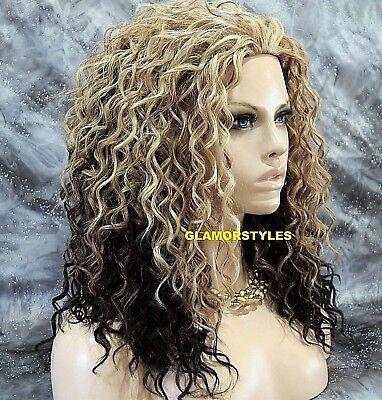 Curly Golden Blonde Brown Mix Heat Ok 3 4 Half Fall Wig Full Hair Piece  Df1009