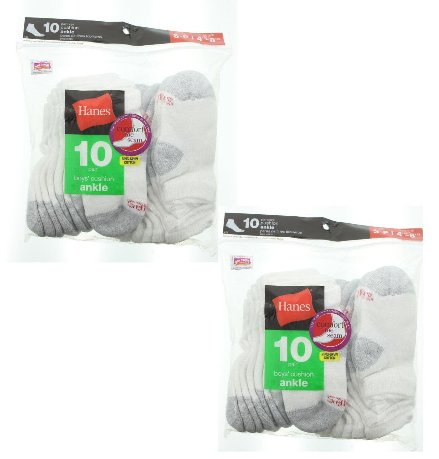 Hanes Boys' Ankle Socks, Pack 10