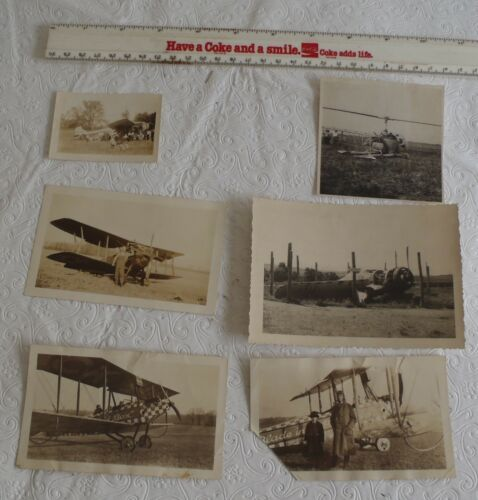 5 Vintage Airplanes and 1 helicopter photos Photograghs
