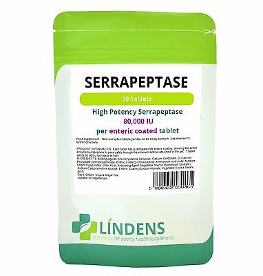 Serrapeptase Double Pack; 180 tablets; 80,000IU high strength, enteric -