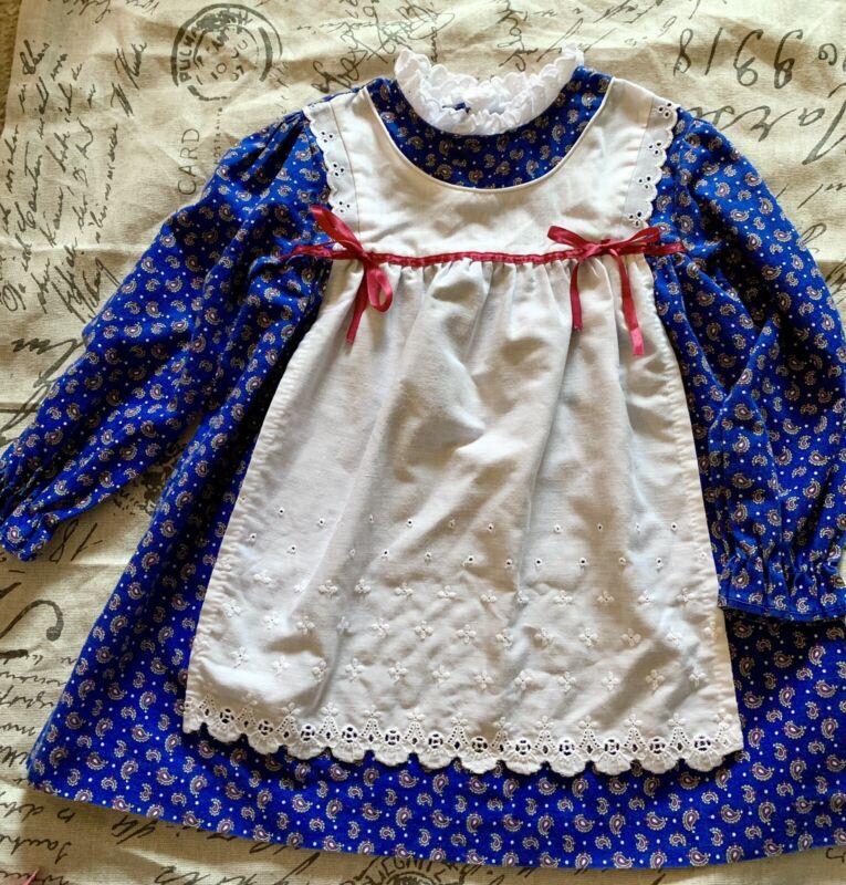 Vintage Girls Pinafore Dress 70s Prairie Dress Boue White Apron 4T Sears