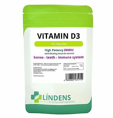 Vitamin D3 3000IU High Strength-Brain / Mood, SAD, Immune System, 120 capsules